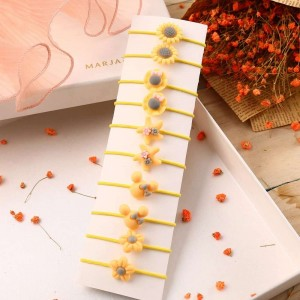 10 Pieces Of Simple Children Flower Hair Rope - Yellow