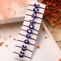10 Pieces Of Simple Children Flower Hair Rope - Purple