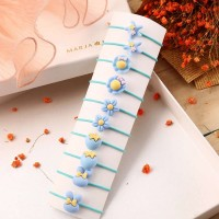 10 Pieces Of Simple Children Flower Hair Rope - Sky Blue