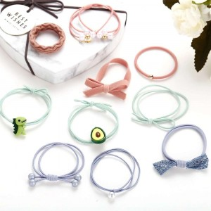 10 Pieces Girls High Elastic Pearl Hair Rope - Multicolor