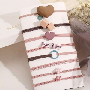 8 Pieces Cute Hair Rope Bands Set - Multi Color
