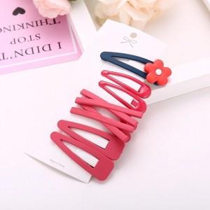 Kids Sweet Flower Hairpin 7 Pieces Set - Red