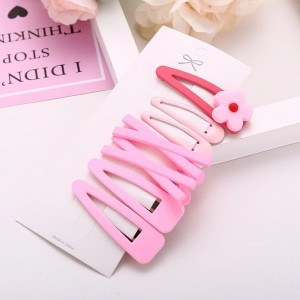 Kids Sweet Flower Hairpin 7 Pieces Set - Pink