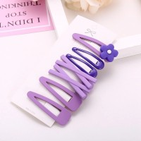 Kids Sweet Flower Hairpin 7 Pieces Set - Purple