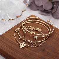Woman Bracelet Combination 4 Pieces Set -Golden