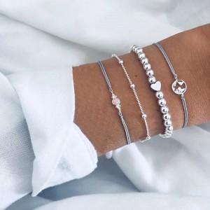 4 Pieces of Ladies Map Bracelets - Silver