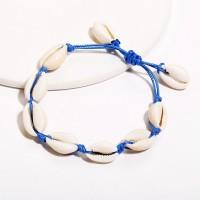 Vintage Beach Shell Braided Bracelet - Blue
