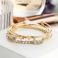 4 Piece of Rhinestone Star Moon Bracelet Set - Golden