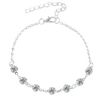 Woman Fashion Diamond Simple Crystal Anklet - Silver