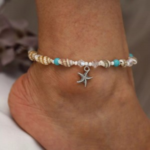 Ladies Beach Starfish Pendant Shell Crystal Anklet - Multicolor