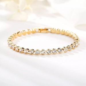 Woman Fashion Rhinestone Simple Bracelet - Golden