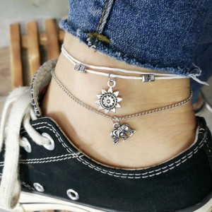 Elephant Multi Layer Fashion Lady Anklet - Silver