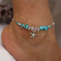 Ladies Starfish Pendant Vintage Anklet - Blue