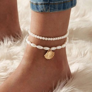 2 Pieces of Woman Pearl Shell Pendant Anklet - White