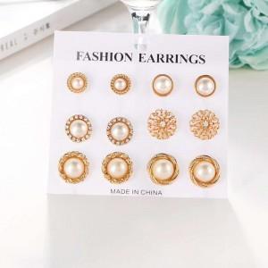 6 Pairs Woman Flower Pearl Earring Set - Golden