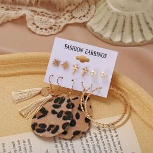 6 Pieces Ladies Leopard Print Tassel Earrings Set - Golden