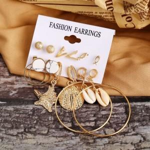 6 Pairs Woman Flower Earring Set - Golden