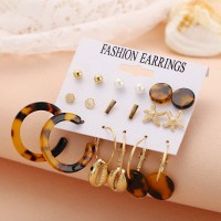 9 Pairs of Shell Earrings Set - Brown Leopard