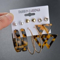 6 Pairs of Woman Earrings Set - Brown Leopard