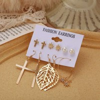 6 Pairs of Ladies Cross Fashion Earrings Set - Golden