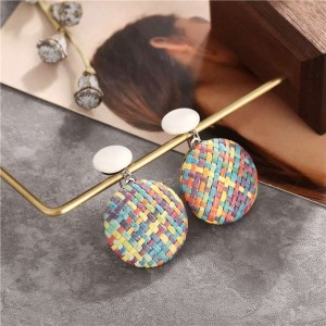 Woman Simple Woven Round Earrings - Multicolor