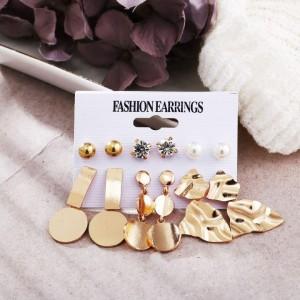 6 Pairs of Irregular Geometric Earrings Set - Golden