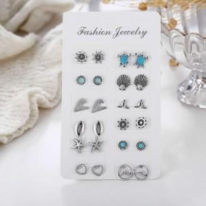 12 Pairs of Woman Vintage Boho Earrings Set - Silver