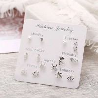 6 Pairs Woman Heart Pearl Bow Earrings - Silver