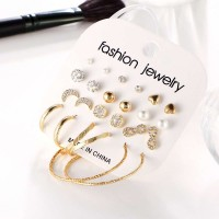 12 Pieces of Woman Rhinestone Circle Earrings Set - Golden