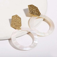 Woman Simple Sequined Geometric Earrings - Golden