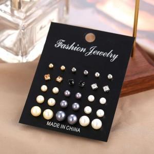 15 Pairs of Pearl Stud Earrings Set - Multicolor