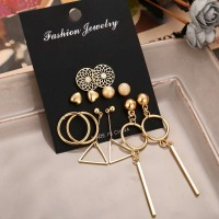 6 Pairs of Hollow Pattern Tassel Earrings Set - Golden