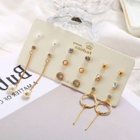 8 Pairs of Rhinestone Pearl Earrings Set - Golden