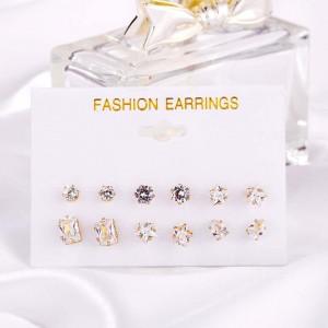 6 Pairs of Woman Zircon Earrings Set - Golden