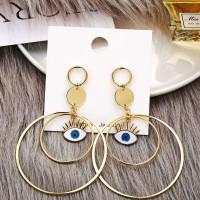 Ladeis Circle Eye Pendant Stud Earrings - Golden