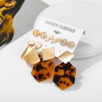 5 Pairs of Leopard Print Acrylic Earrings Set - Golden