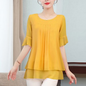 Pleated Round  Neck Half Sleeved Thin Fabric Top - Yellow