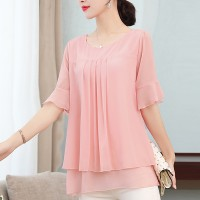 Pleated Round  Neck Half Sleeved Thin Fabric Top - Pink