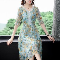 Lace Patched Floral Printed Thin Fabric Summer Dress - Green