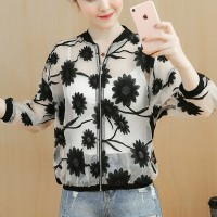Floral Thin Zipper Closure Summer Outwear Jacket - Black And White