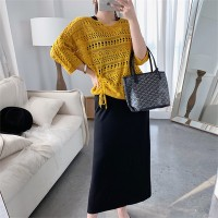 Hollow Outwear Thin Top With Sleeveless Inner Midi Dress - Yellow