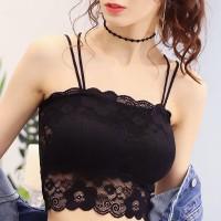 Strap Shoulder Floral Lace Mini Wear Summer Tops - Black