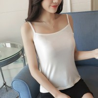 Camisole Plain Solid Color Summer Sleeveless Top - White