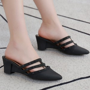Slip Over Thick Heel Casual Wear Sandals - Black