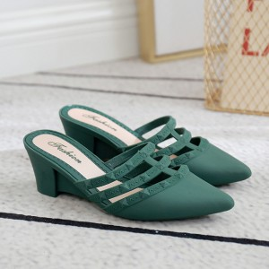 Slip Over Thick Heel Casual Wear Sandals - Green