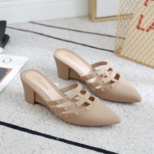 Slip Over Thick Heel Casual Wear Sandals - Apricot
