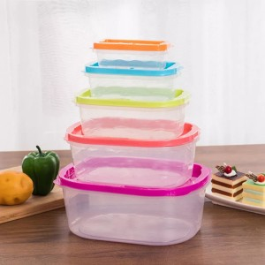 5 Pcs Set Rainbow Color Food Storage Sealed Box - Multi Color