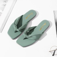 Party Wear Canvas Flip Flop Flat Slippers - Green