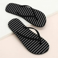 Striped Prints Flat Rubber Soft Base Summer Slippers - Black
