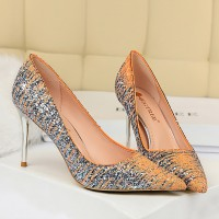 Sequins Decorative Spike Heels Pointed Party Shoes - Champagne